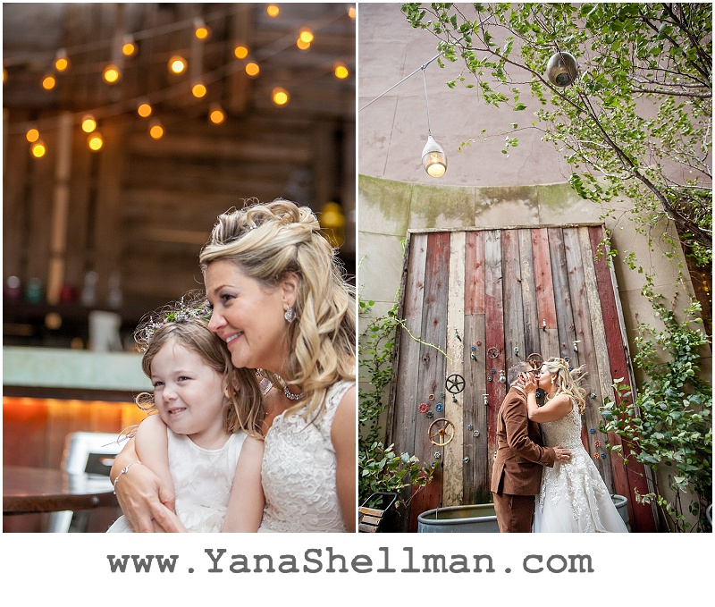 Bride with her daughter at Talula's Garden wedding by Philadelphia wedding photographer