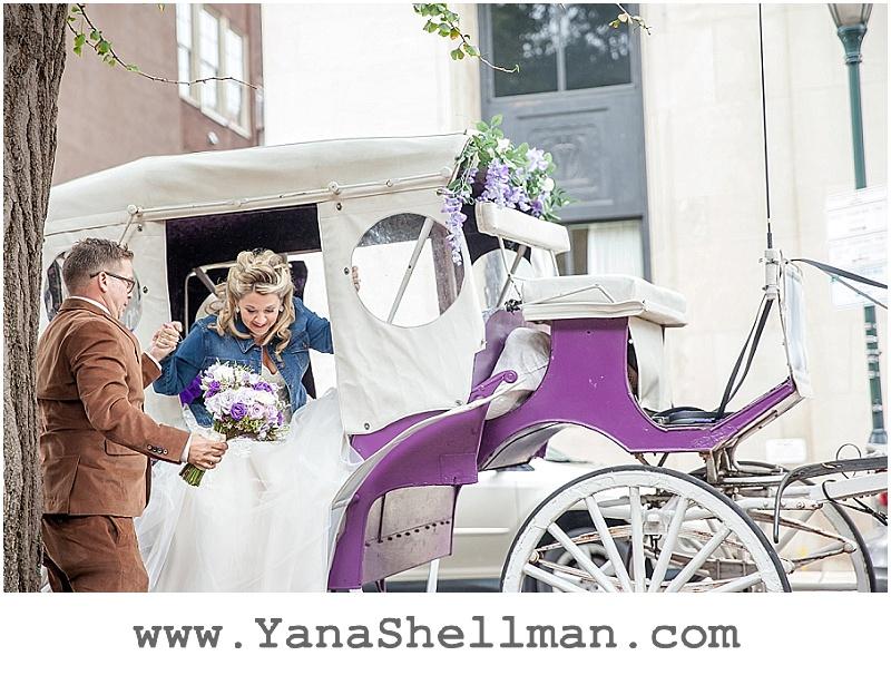 horse carriage at Talula's Garden wedding by Philadelphia wedding photographer