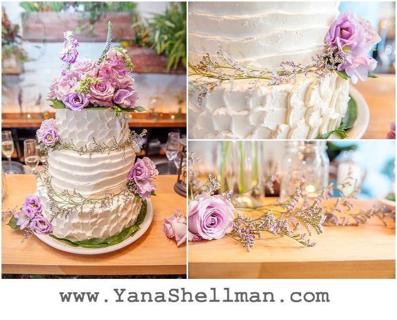 rustic pink wedding cake at Talula's Garden wedding by Philadelphia wedding photographer