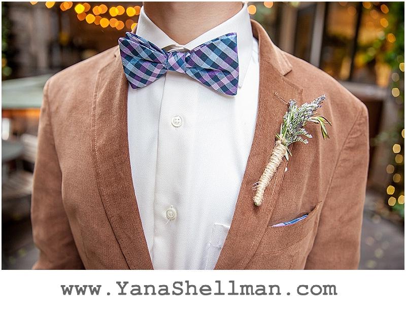 groom's bow tie at Talula's Garden wedding by Philadelphia wedding photographer